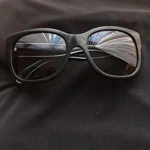 CHANEL Black Square 18k Gold Trim Sunglasses